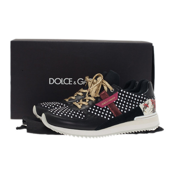 Dolce and Gabbana Black Polka Dot Sneakers Size 38