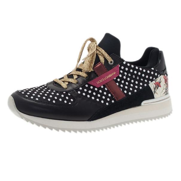 Dolce and Gabbana Black Polka Dot Sneakers Size 38
