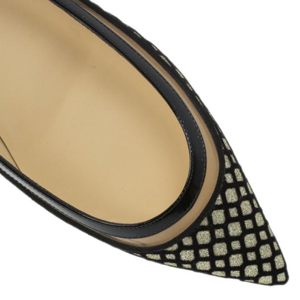 Christian Louboutin Black Floque Glitter Paulina Ballet Flats Size 38