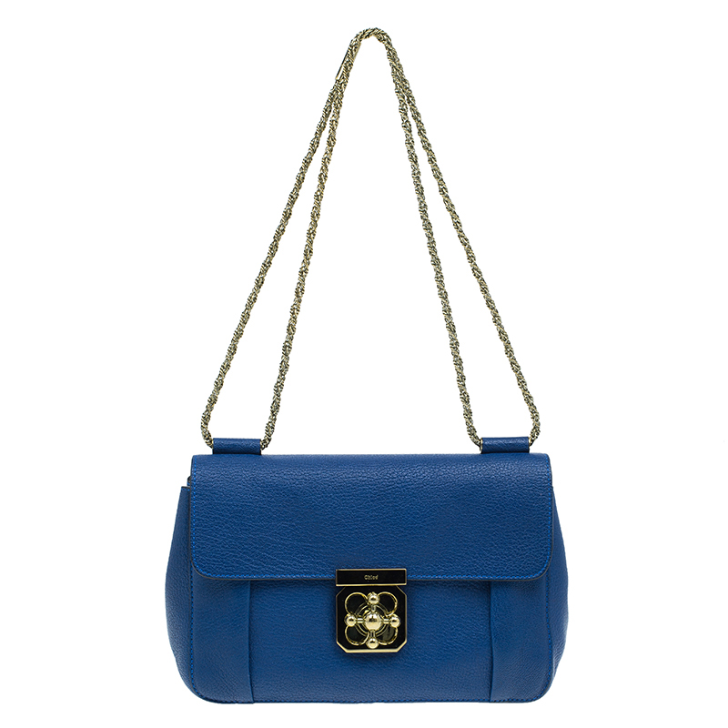 Chloe Blue Leather Large Elsie Shoulder Bag