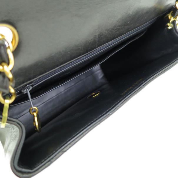 Chanel Black Lambskin Single Flap Shoulder Bag