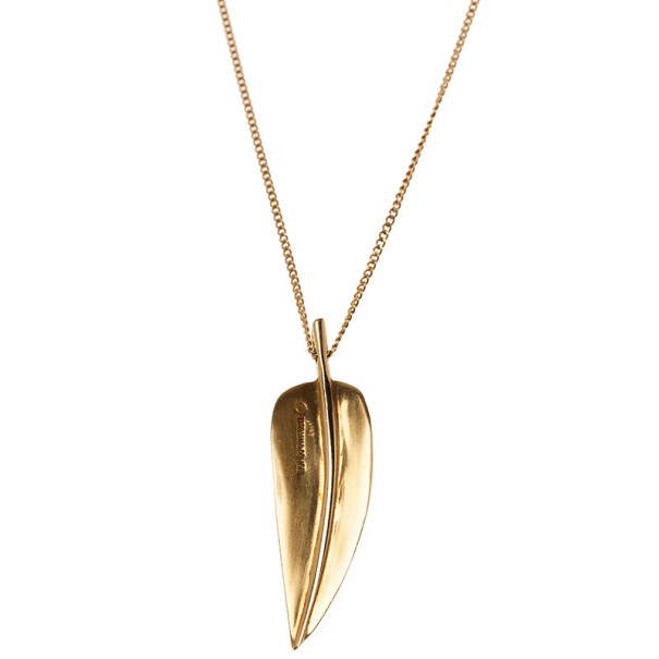 Tiffany & Co. Vintage Angela Cummings Leaf 18K Yellow Gold Pendant Necklace