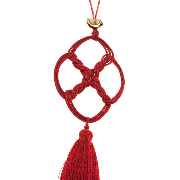 Tiffany & Co. Vintage Elsa Peretti Quadrifoglio Red Silk and 18K Yellow Gold Pendant Necklace