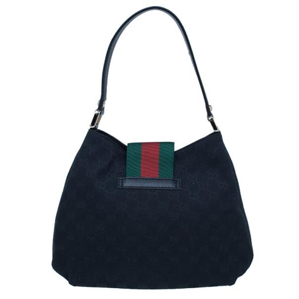 Gucci Black Canvas Ladies Web Pochette