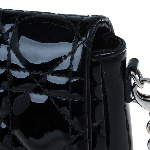 Dior Black Patent Leather Miss Dior Promenade Pouch