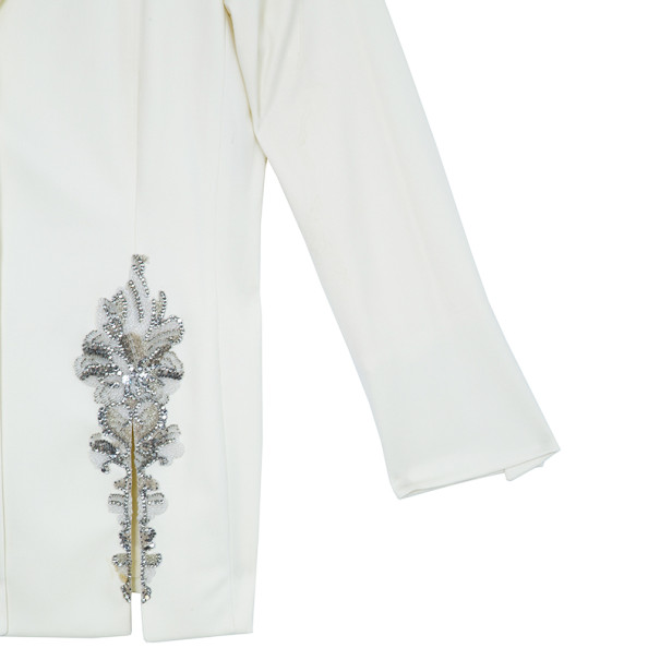 Escada Off-White Embroidered Suit M
