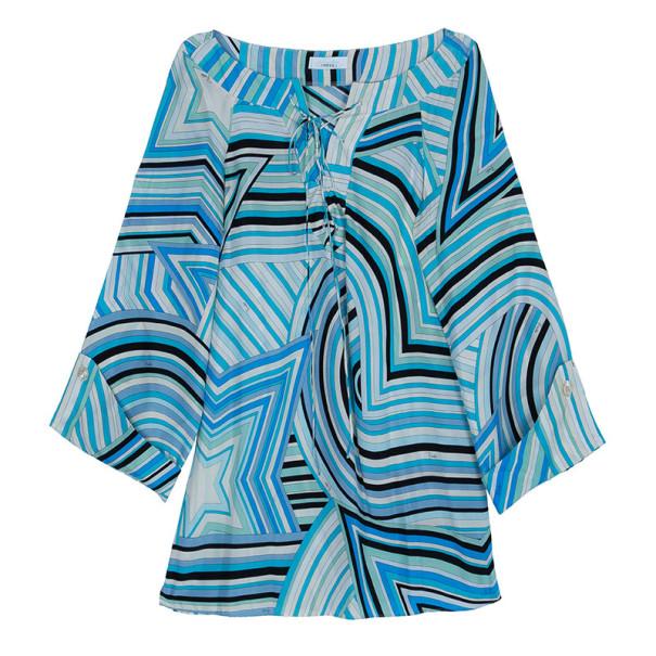 Emilio Pucci Turquoise Long Sleeve Blouse M