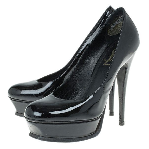 Saint Laurent Paris Black Patent Tribute Platform Pumps Size 37.5