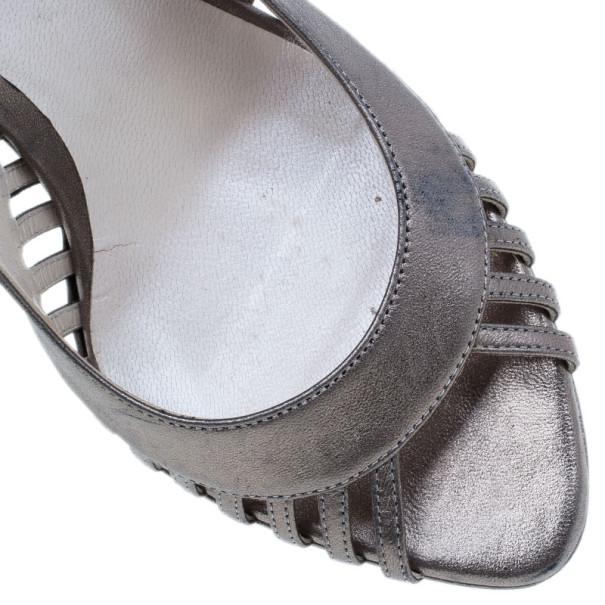 Dior Bronze Metallic Leather Whisper Slingback Sandals Size 37