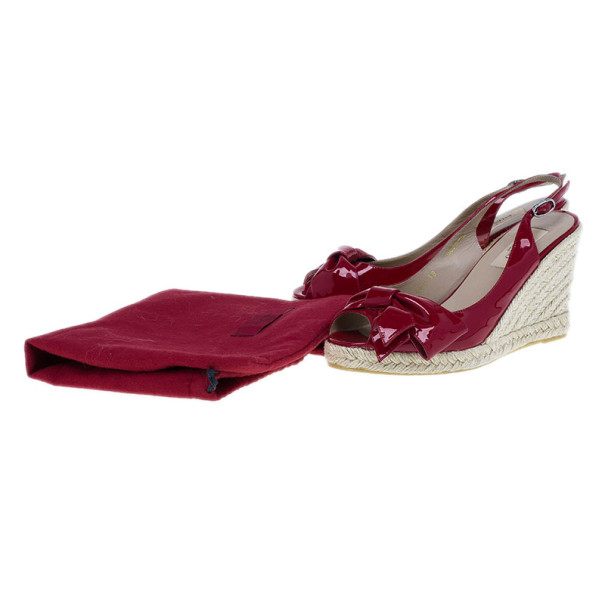 Valentino Red Patent Mena Bow Slingback Esapdrilles Wedges Size 38