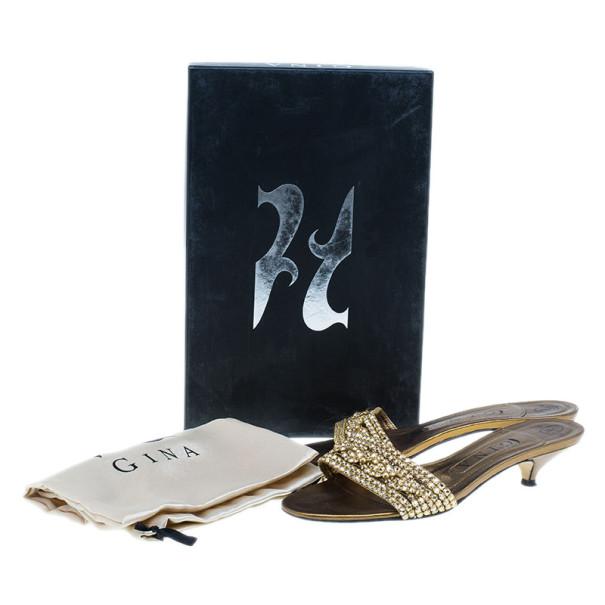 Gina Bronze Kitten Heel Slides Size 37.5