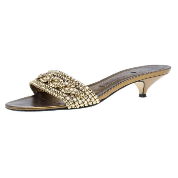 Gina Bronze Kitten Heel Slides Size 37.5 - Buy & Sell - LC