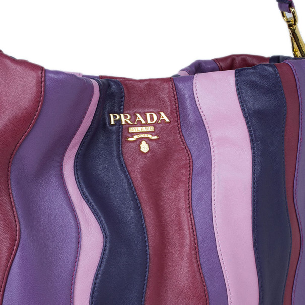 Prada Multicolor Nappa Leather Stripes Large Hobo