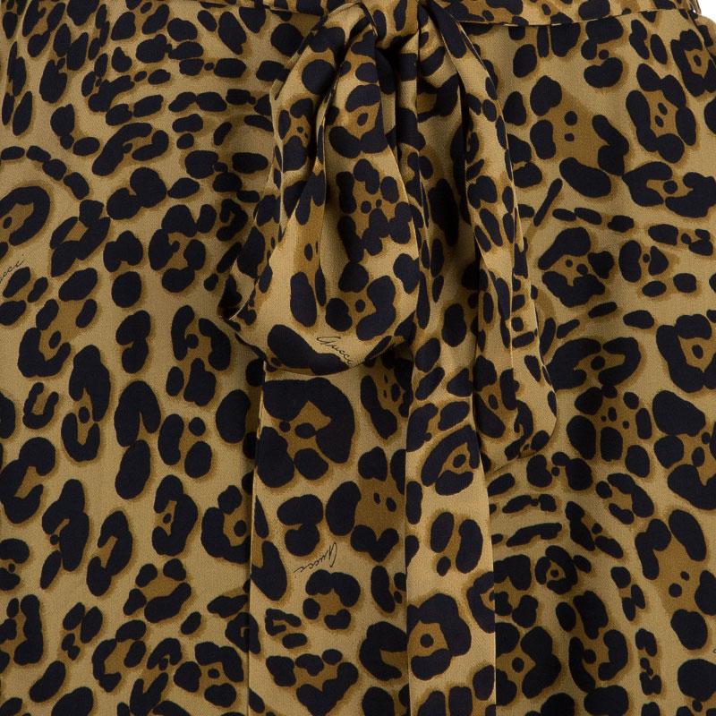 Gucci Brown Leopard Print Long Sleeve Dress M