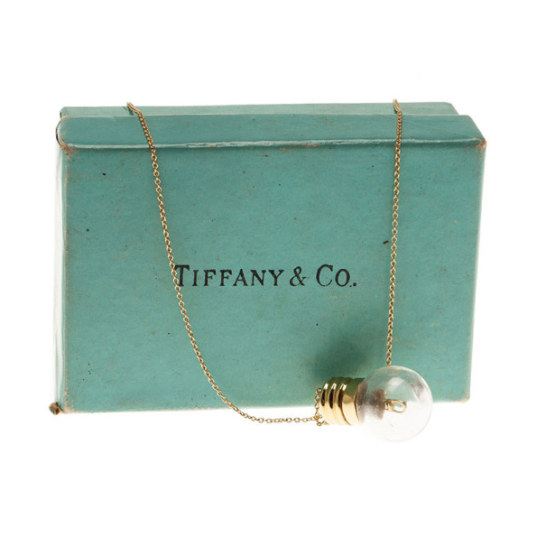 Tiffany & Co. Vintage Peretti Crystal Light Bulb Parfum Holder Pendant Necklace
