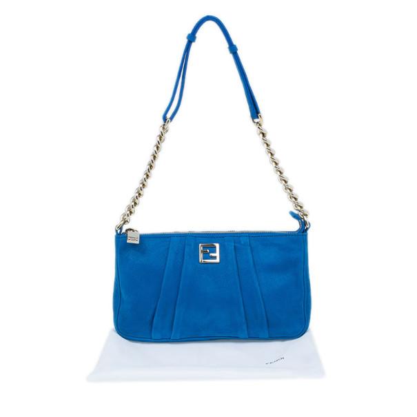 Fendi Blue Pleated Soft Leather Pochette