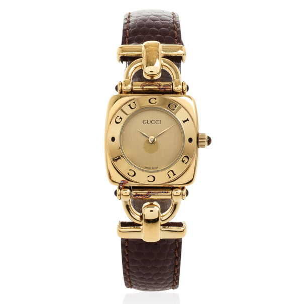 Gucci 6300L Gold Plated Leather Womens Wristwatch 21 MM
