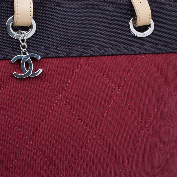 Chanel Red and Purple Canvas Quilted Biarritz Tote