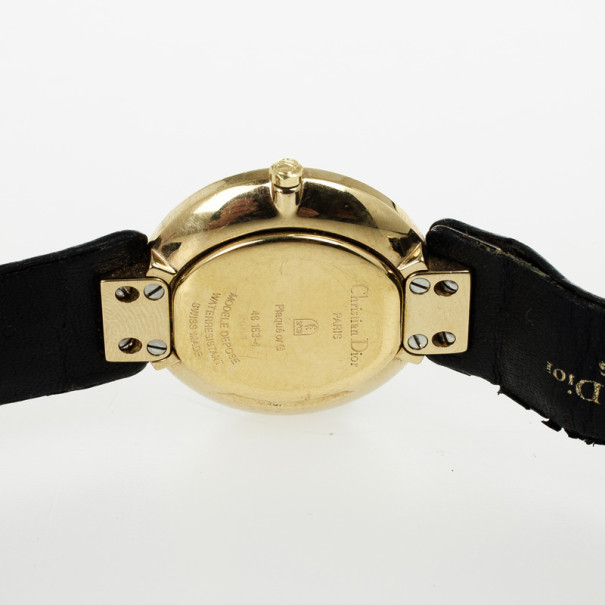 Christian Dior Black Moon Gold Plated Leather Womens Wristwatch 25 MM