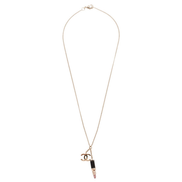 Chanel CC Lipstick Charm Necklace