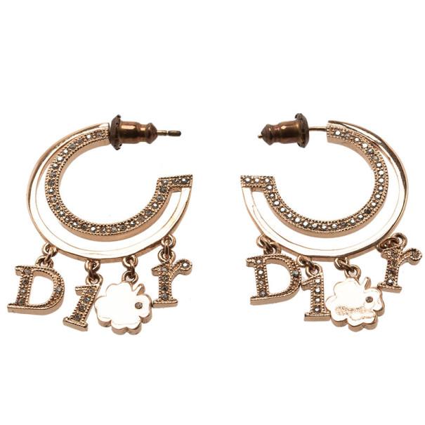 Dior Crystal Hoop Lucky Charm Crystal Earrings