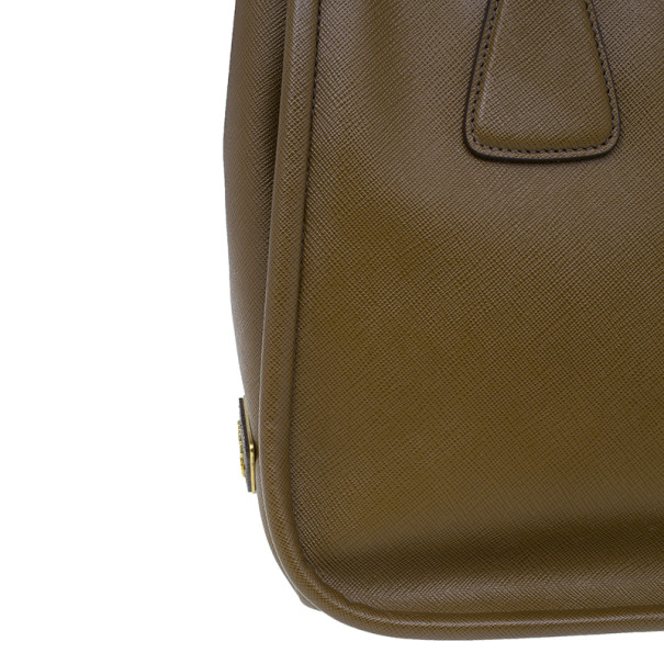 Prada Tobacco Saffiano Leather Medium Frame Bag
