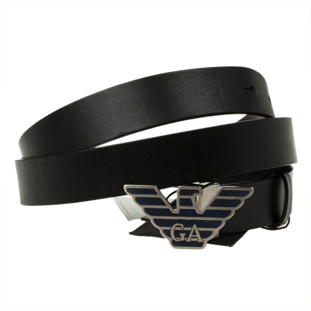 Emporio Armani Black Leather One Size Belt