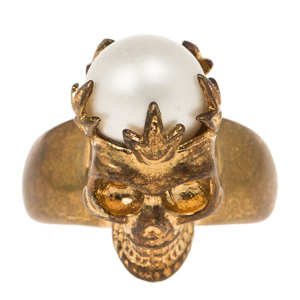 Alexander McQueen Gold Pearl Crown Skull Ring Size 50.5