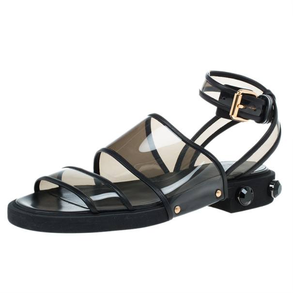 Givenchy Black PVC Embellished Heel Sandals Size 37.5