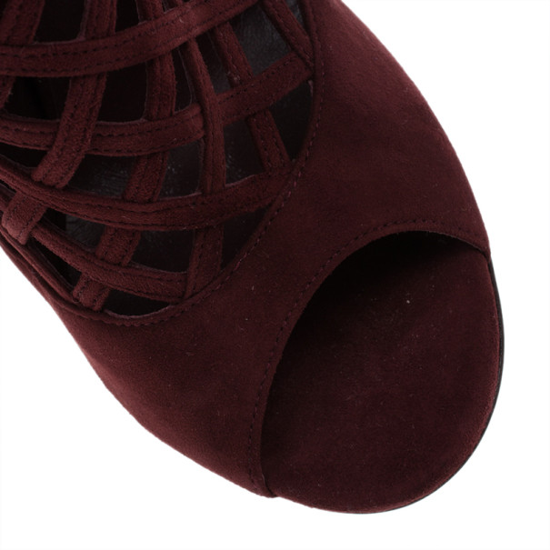 Jimmy Choo Maroon Suede Dane Claret Lattice Peep Toe Booties Size 38