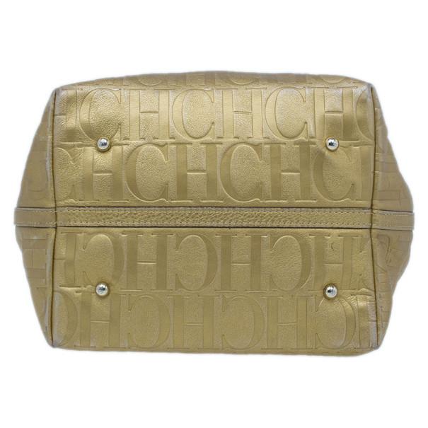Carolina Herrera Gold Monogram Leather Matryoshka Tote