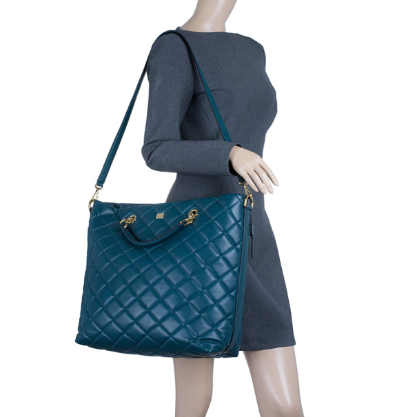 Dolce and Gabbana Green Leather Quilted Tote