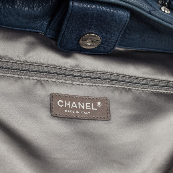 Chanel Navy Blue Pleated Tote