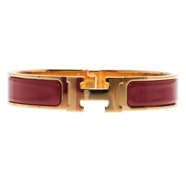Hermes Clic Clac H Amaranth Red Enamel Gold Plated Bracelet PM