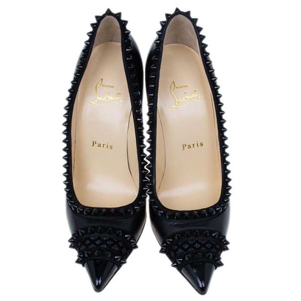 Christian Louboutin Black Leather and Suede Malabar Hill Spiked Pumps Size 36.5