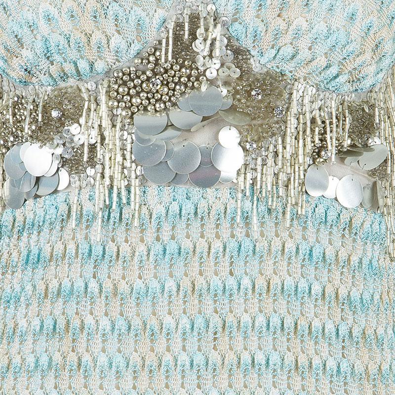 Missoni Aqua Embellished Maxi Dress S