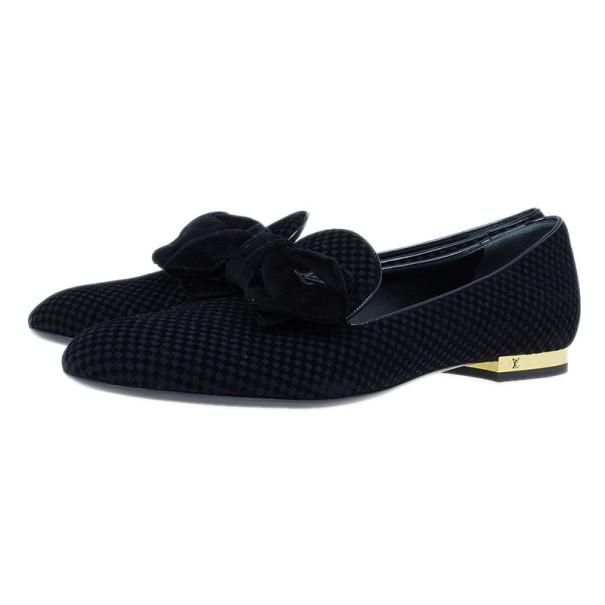 Louis Vuitton Black Suede Petit Damier Suit Up Smoking Slippers Size 38.5