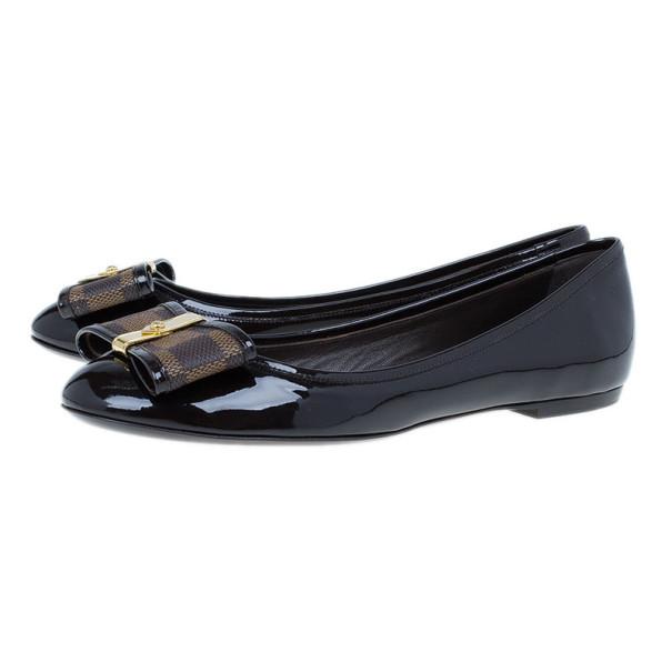 Louis Vuitton Damier Ebene Patent Valentine Ballet Flats Size 38