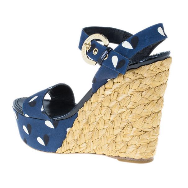 Louis Vuitton Blue Silk Tuileries Raffia Platform Wedge Sandals Size 37.5
