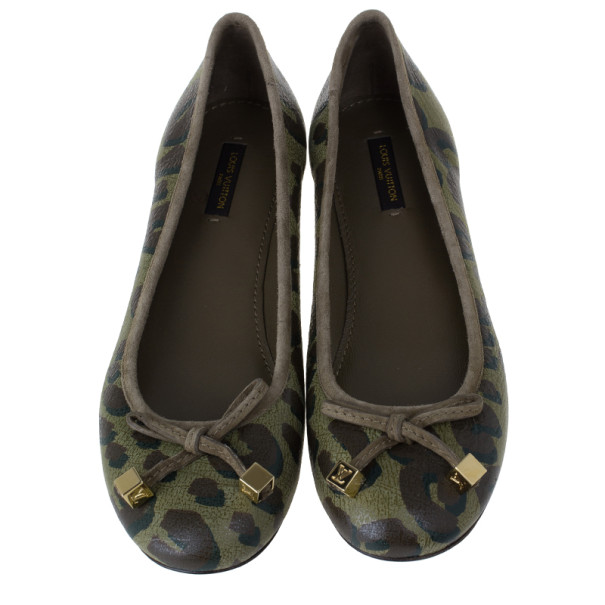 Louis Vuitton Green Stephen Sprouse Leopard Ballet Flats Size 38