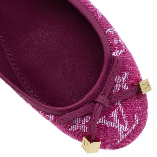 Louis Vuitton Pink Monogram Denim Formentera Ballet Flats Size 37.5