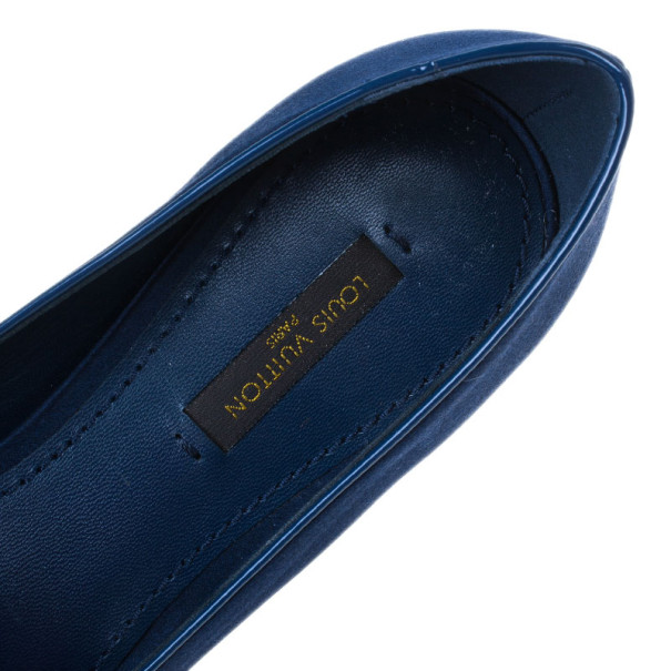 Louis Vuitton Blue Satin Cheri Smoking Slippers Size 37.5