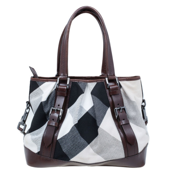 Burberry Mega Check Canvas Lowry Tote
