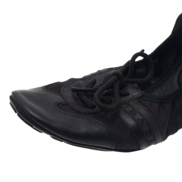 Prada Sport Black Leather Scrunch Lace Up Ballet Flats Size 40