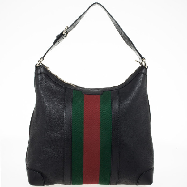 Gucci Black Leather Red Green Stripe Hobo Nextprev Prevnext