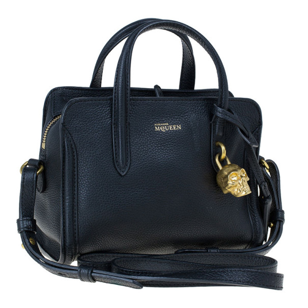 Alexander McQueen Black Leather Mini Padlock Tote