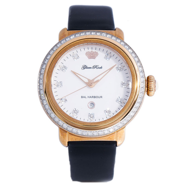Glam Rock White Gold-Plated Steel Bal Harbour GR77014D Women's Wristwatch 40MM