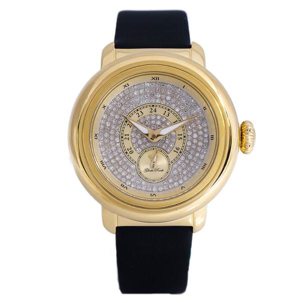 Glam Rock Diamond Gold-Plated Steel Bal Harbour GR77062 Women's Wristwatch 40MM