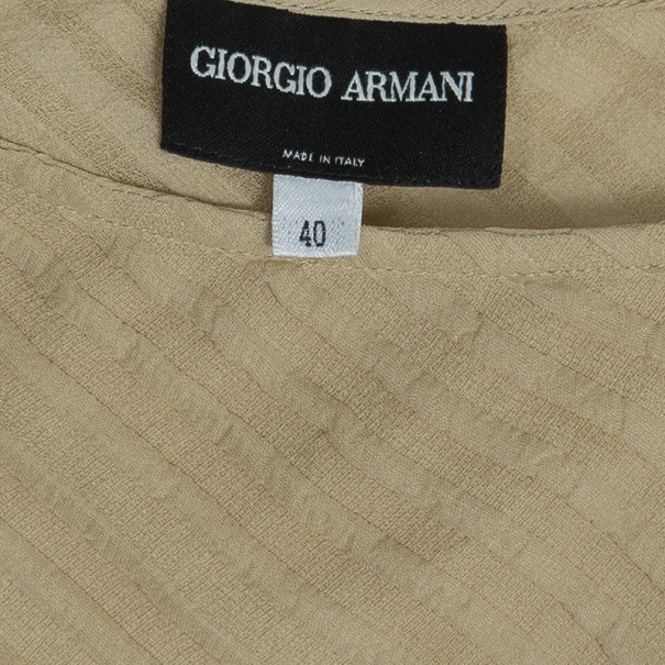Giorgio Armani Cream One Shouldered Silk Chiffon Top S