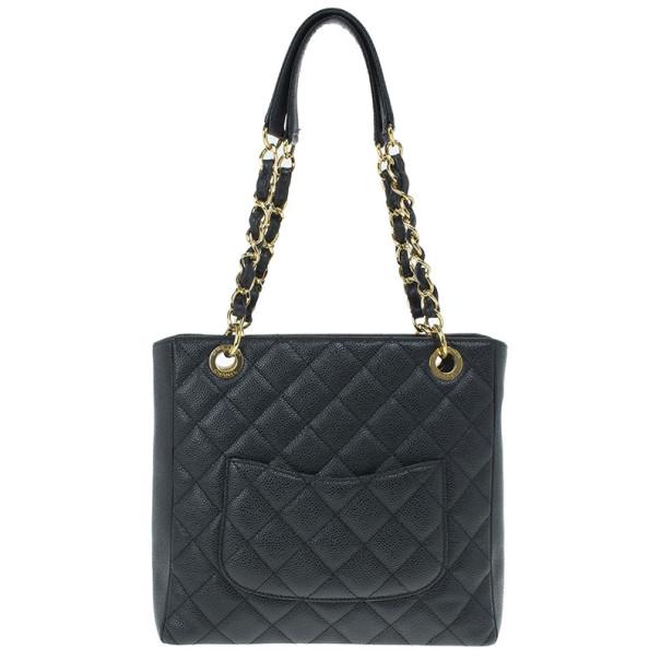 Chanel Black Caviar Petite Shopping Tote